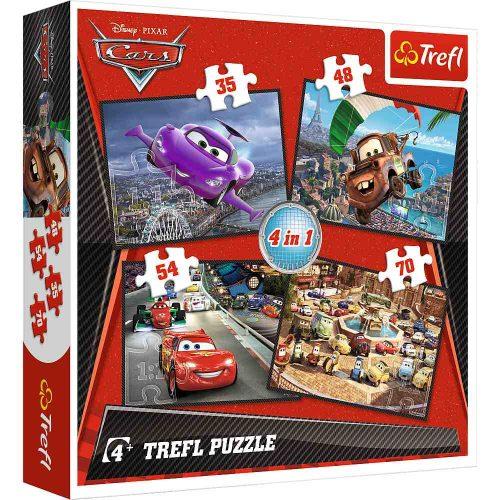 Trefl Puzzle 4w1 35 48 54 70 el.  Auta: Wyruszmy w podróż