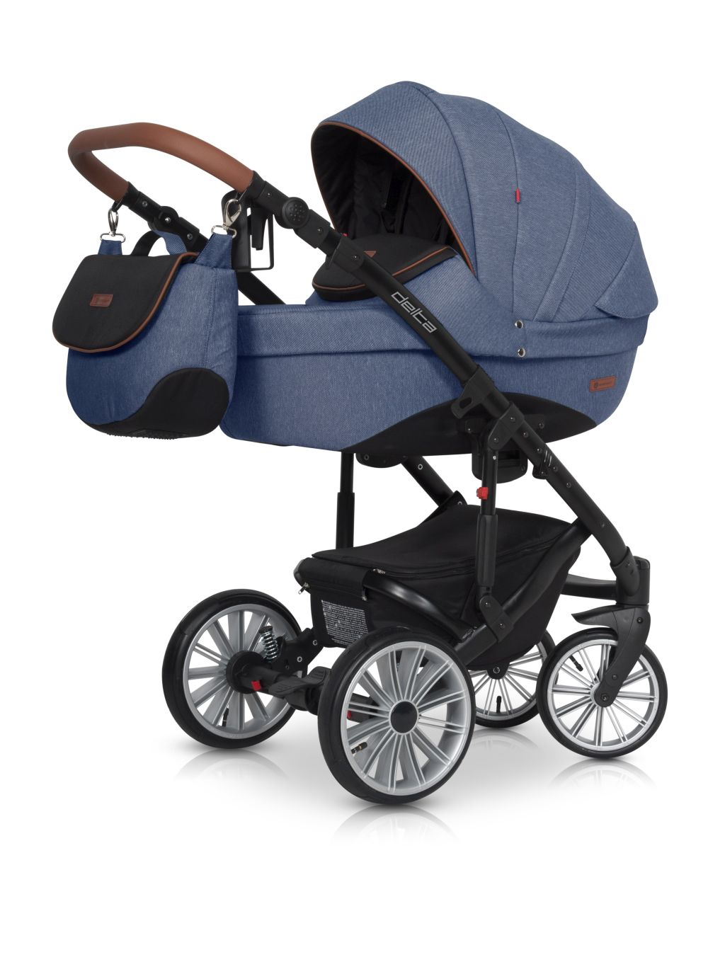 Wózek głęboko spacerowy Euro Cart Delta zestaw 2w1 kolor Denim