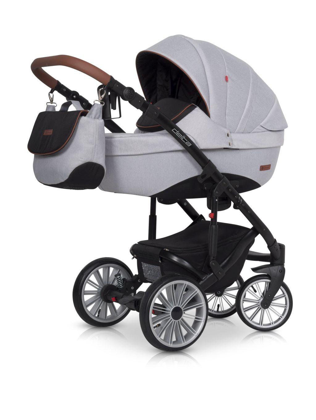 Wózek głęboko spacerowy Euro Cart Delta zestaw 2w1 kolor Grey Fox