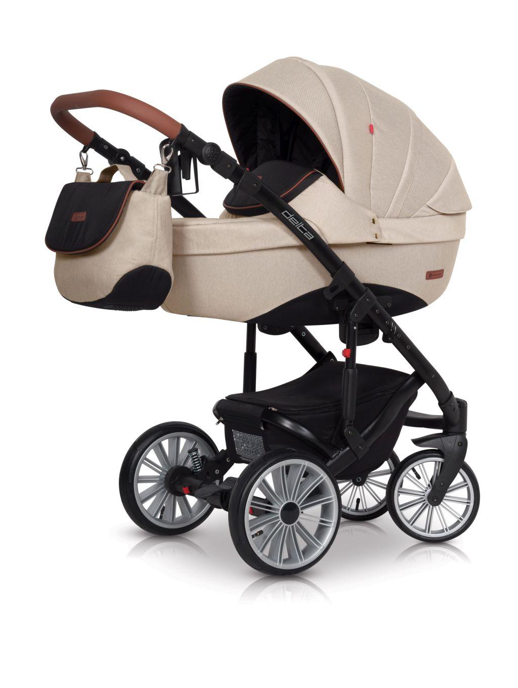 Wózek głęboko spacerowy Euro Cart Delta zestaw 2w1 kolor Latte