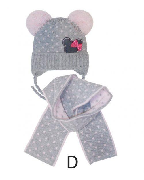 Ciepła czapka zimowa z szalikiem dla dziecka rozmiar 40-42
