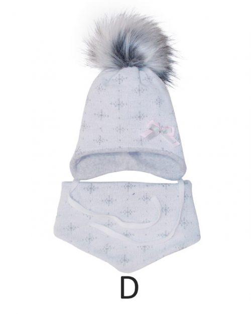 Czapka zimowa z chustką komplet dla dziecka rozmiar 40-42