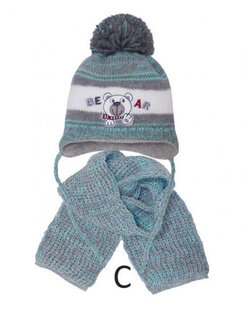 Czapka zimowa + chustka komplet zimowy dla dziecka rozmiar 44-46