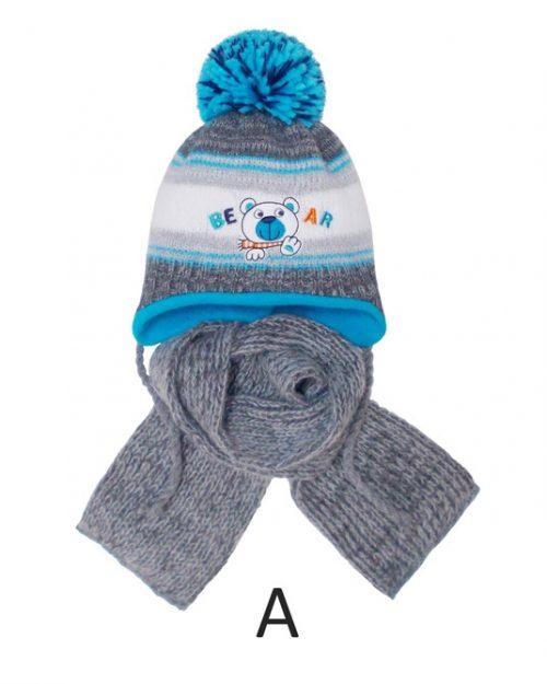 Zimowa czapka dla dziecka z szalikiem rozmiar 36-38