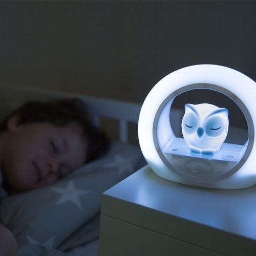 Nocna lampka led dla dziecia Zazu sowa szara