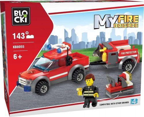 Klocki Blocki MyFireBrigade Auto z Przyczepą 143 el straż pożarna