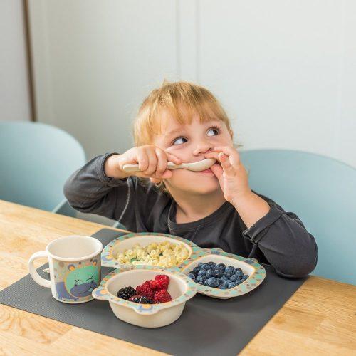 Ekologiczne naczynia dla dziecka z bambusu, miska, talerz, kubek, sztućce  Babyono