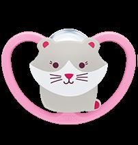 Uspokajający silikonowy smoczek 18-36 Nuk Space różowy kotek