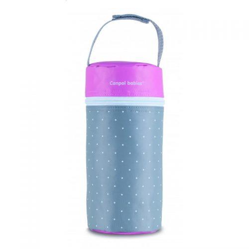 Termoopakowanie do butelek uniwersalne Canpol Babies Kropki kolor Szaro różowy