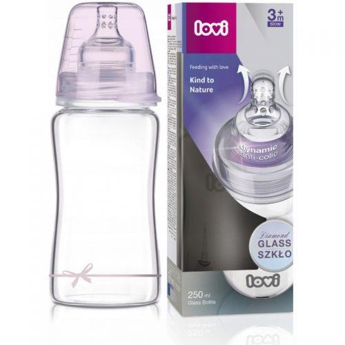 Butelka szklana do karmienia Lovi Diamond Glass 250ml Dirl różowa