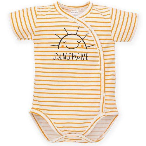 Pinokio rozpinane body krótki rękaw Summer Nice Day 68 Paski Żółty