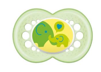 Silikonowy smoczek uspokajający dla niemowląt Mam Time For Love 6+ zielomny słoń