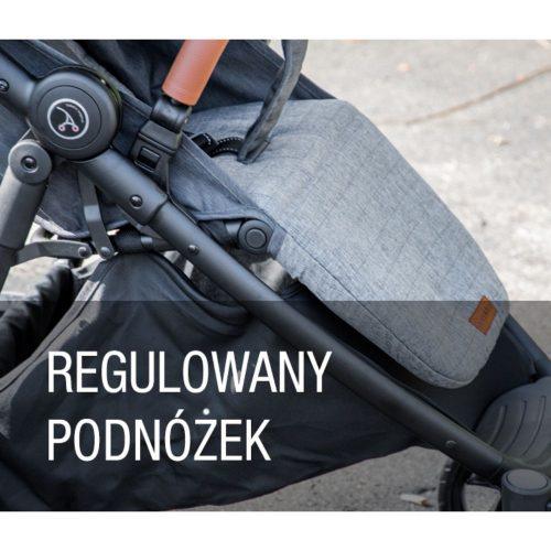 Wózek spacerowy z pompowanymi kołami Coletto Nevia kolor Grey + folia i okrycie na nóżki
