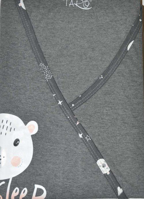 Koszula nocna dla mamy karmiącej z któtkim rekawem Taro Asia grafitowy miś XL