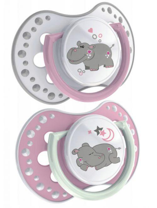 Lovi Night & Day smoczek dynamiczny do uspokajania 6-18m 2 szt. 0% BPA Girl Hippo