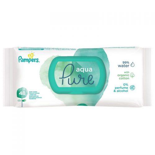 Chusteczki pielęgnacyjne nawilżane  Pampers Pure 48 szt zamykane pudełko