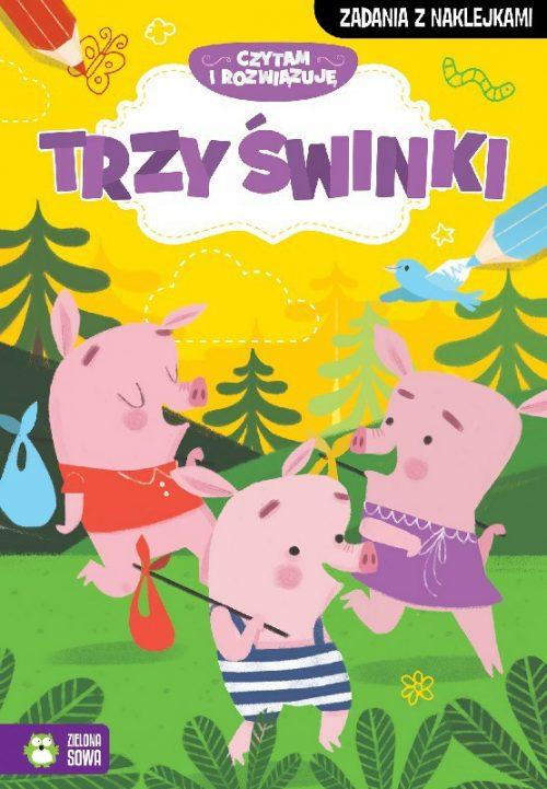 Czytam i rozwiazuje zadania z naklejkami trzy świnki
