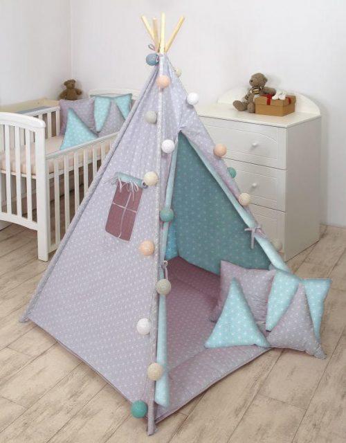 Amy Tipi namiot dla dziecka Rozeta szaro różowa
