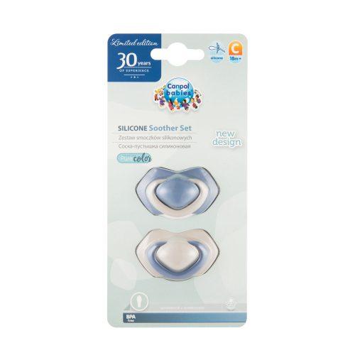 Smoczek symetryczny silikonowy 2 szt Pure Color Canpol Babies 18+ niebieski