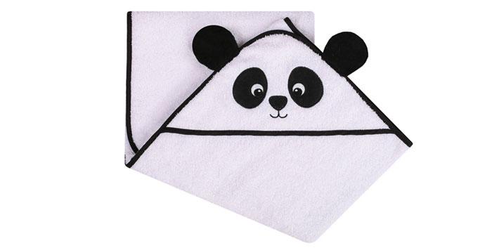 Okrycie kąpielowe z kapturkiem frotte 100x100 animals biała panda