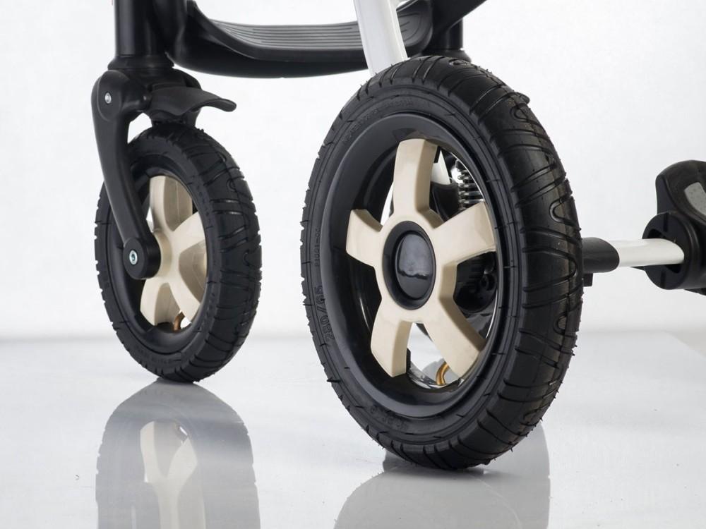 Pompowane koło przednie do wózka dziecięcego czarny biały