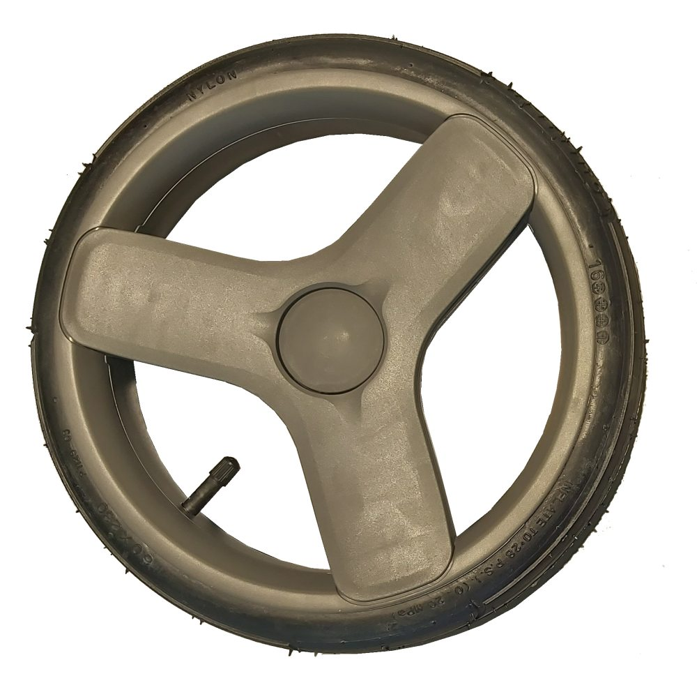 Pompowane tylne koło do wózka dziecięcego szare