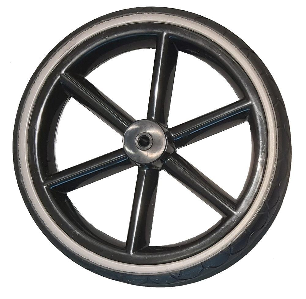 Żelowe bezdętkowe koło do wózka dzieciecego przednie połysk czarny + szary