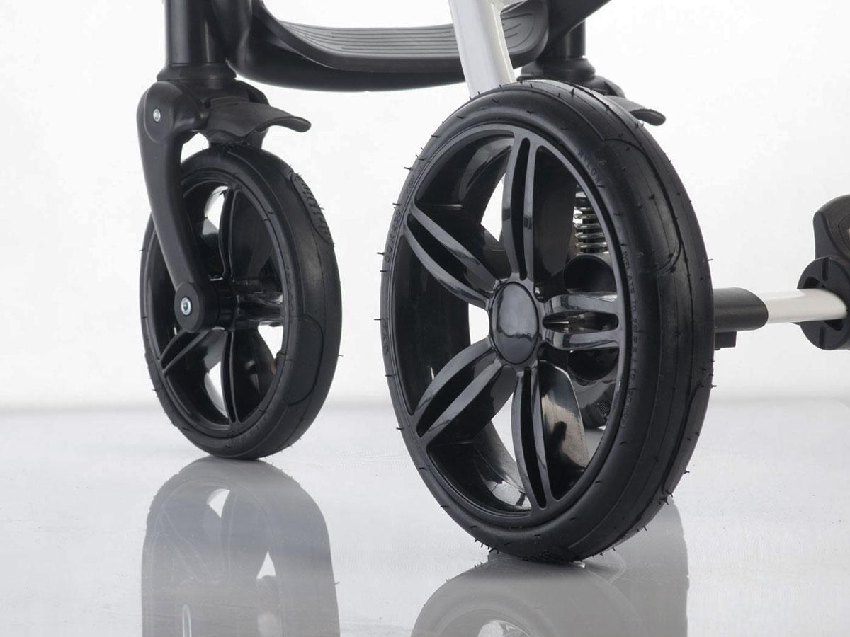 Żelowe bezdętkowe koło do wózka dzieciecego przednie połysk czarne