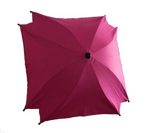 Kwadratowa parasolka przeciwsłoneczka do wózka dziecięcego róż ciemny