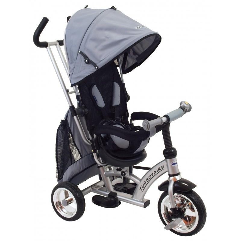 Rowerek trójkołowy dla dziecka z pchaczem Turbo Trike szary
