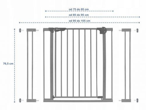 Barierka ochronna zastawka drzwiowa Truus Slim 75-105 cm szara
