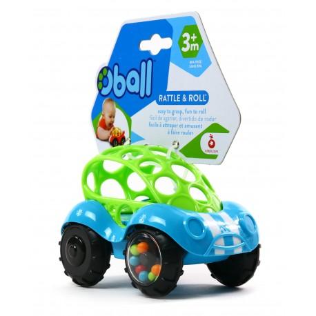 Kolorowy samochodzik z grzechoczącymi kółkami - Oball Autka 3m+ turkus + zielony