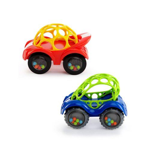 Kolorowy samochodzik z grzechoczącymi kółkami - Oball Autka 3m+ żółto czerwony