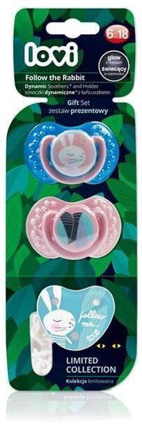 Symetryczny smoczek uspokajający Lovi 2 szt 6-18m+ łańcuszek Rabbit róż + niebieski