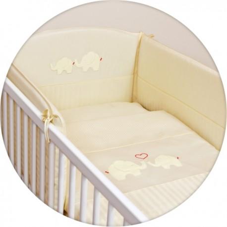 3 elementowa pościel dziecięca z haftem Ceba Baby Słonie kremowy
