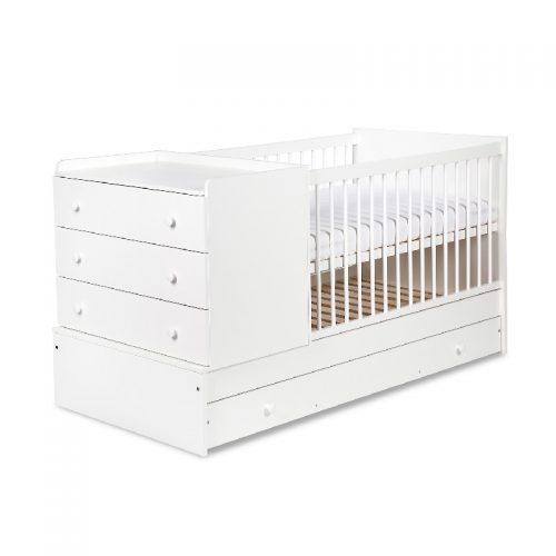Rozkładane łóżeczko 3w1 tapczanik z komodą 175x87 Klupś Kompakt Biały