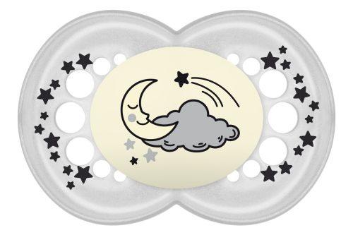 Symetryczny smoczek uspokajający świecący Night 16+ Mam Baby szary ksieżyc