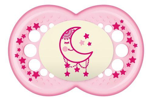 Silikonowy smoczek uspokajający świecący Night 16+ Mam Baby różowy ksieżyc