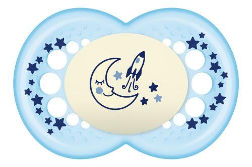 Symetryczny smoczek uspokajający świecący Night 16+ Mam Baby niebieski ksieżyc