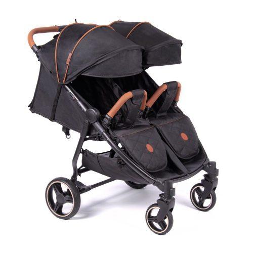 Lekki wózek spacerowy dla bliźniąt Coletto Enzo Twin kolor Black