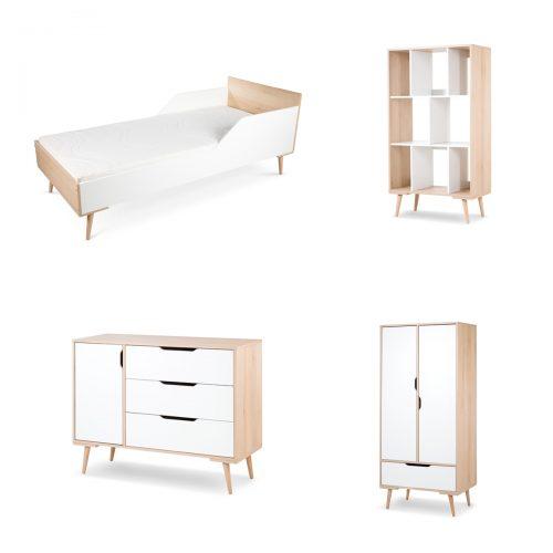 Komplet mebli  młodzieżowch łóżko180x80 komoda szafa regał Sofie Litte Sky biały buk