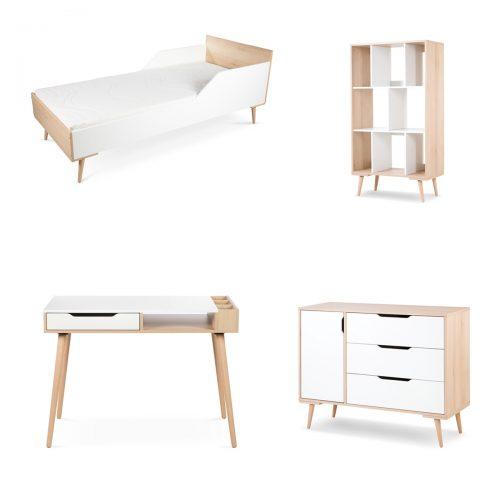 Zestaw młodzieżowch mebli łóżko180x80 komoda regał biurko Sofie Litte Sky biały buk