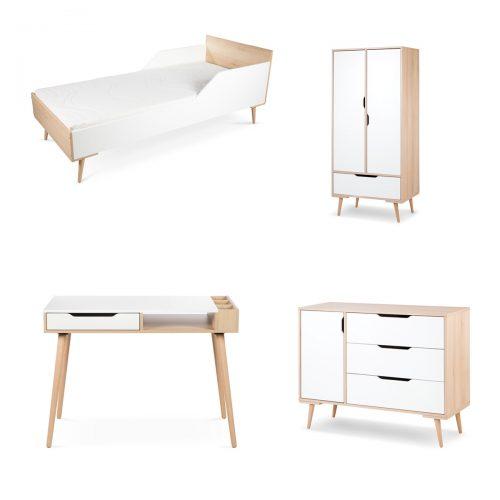 Meble do pokoju dziecięcego łóżko180x80 komoda szafa biurko Sofie Litte Sky biały buk