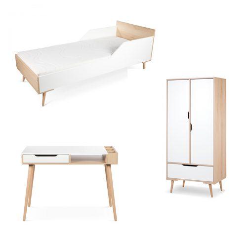 Łóżko180x80 szafa biurko Sofie Litte Sky biały buk Zestaw mebli młodzieżowch
