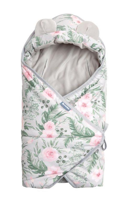 Śpiworek do fotelika samochodowego otulacz Sensillo szare kwiaty