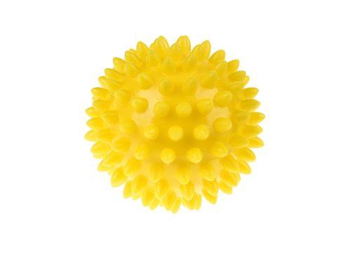 Sensoryczna piłka do rechabilitacji dzieci Tullo 6,6cm żółta