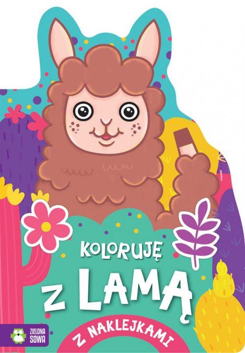 Kolorowanka dla dzieci koloruję z Lamą zielona sowa