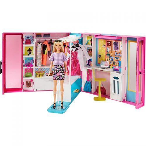 Mebelki dla Barbie szafa z lalką + akcesoria GBK10
