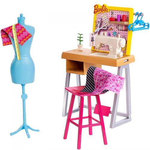 Zestaw mebli dla lalki Barbie FXP10 pracownia krawiecka