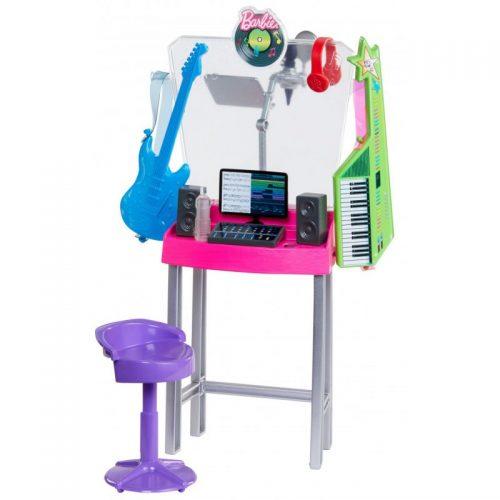 Zestaw mebli dla lalki Barbie GJL67 studio nagrań muzyk DJ